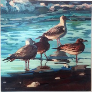 Gulls at Dawn I by Nat Dickenson