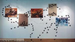 """Turtle Boil Wall #1-5. Monoprints. """"We multiply but; they emerge, struggle and die. Quietly be present. """""""