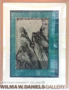 Mountain Zen. Sumi, woodgrain and chine-colle.