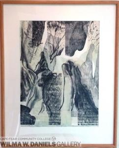 Thoughts of the River. Sumi Ink,  woodgrain, and chine-colle.