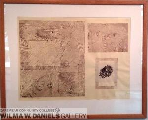 Forest Floor. Collagraph, sumi, and chine-colle.