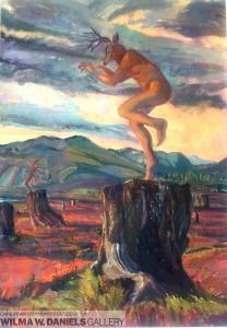 Dancing on the Last Stump, Deer man. Oil on canvas