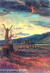 Dancing on the Last Stump, Leaping Woman. Oil on canvas.